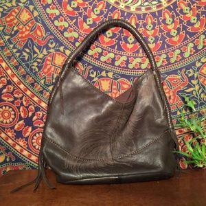 Lucky Brand 100% Leather Small Fringe Hobo Bag